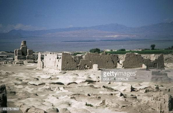 Ruins of the ancient city of Jiaohe Yarkhoto near Turpan Xinjiang China