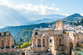 Ruins of the ancient greek theater of Taormina. Etna view. Sicily. Italy.