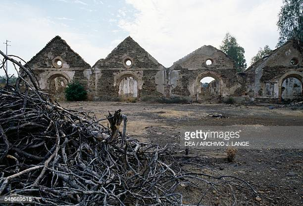 Ruins of the buildings in the copper mine of Sao Domingos active in the 19th century Alentejo Portugal