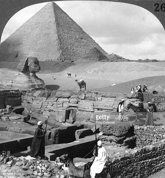 'Ruins of the granite temple the Sphinx and Great Pyramid Egypt' 1905 Stereoscopic card Detail From a series called Egypt Through the Stereoscope...