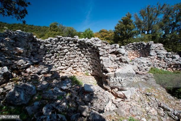 Ruins of the nuragic village named 'Or Murales' Urzulei Sardinia Italy Europe