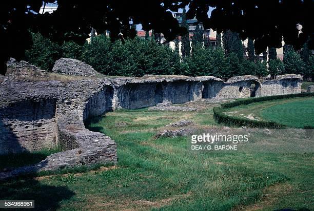 Ruins of the Roman amphitheater Arezzo Tuscany Italy