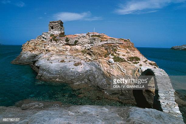 Ruins of the Venetian castle Andros Cyclades Islands Greece