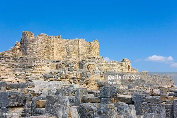 Ruins of Thugga in Ain Darham Mountain