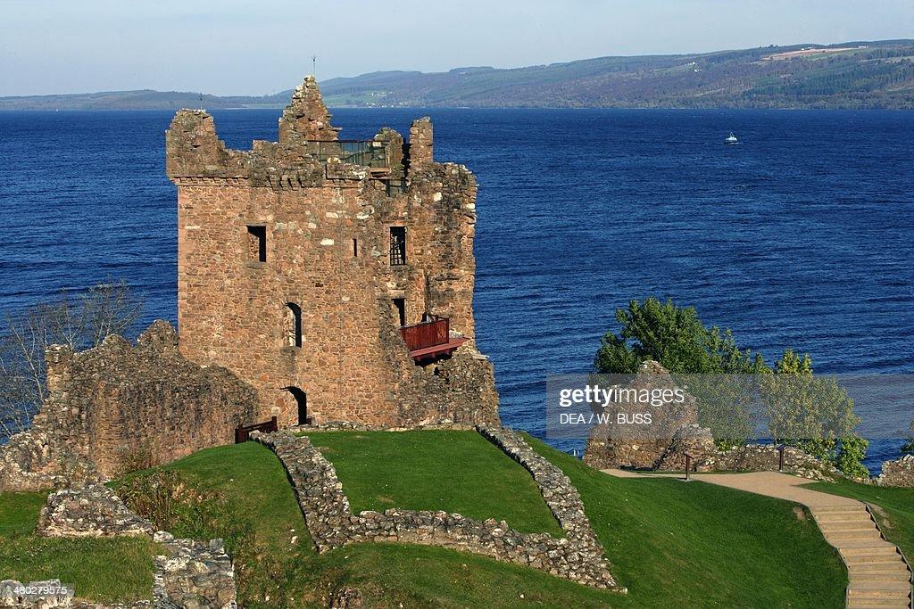 Ruins of Urquhart castle Loch Ness Highlands Scotland United Kingdom