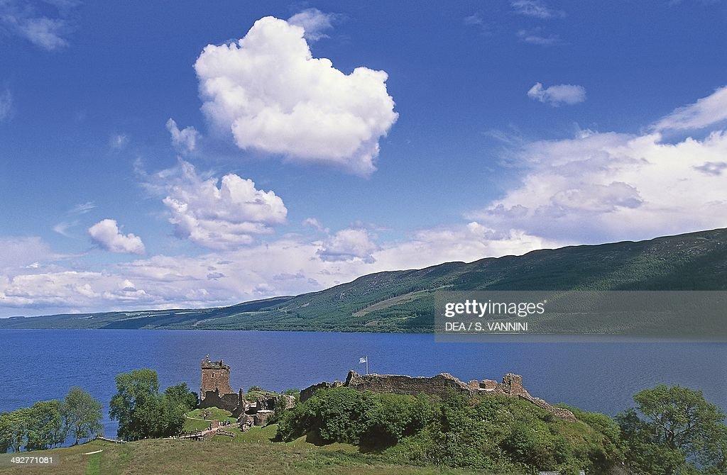 Ruins of Urquhart castle on the banks of Loch Ness Drumnadrochit Scotland United Kingdom