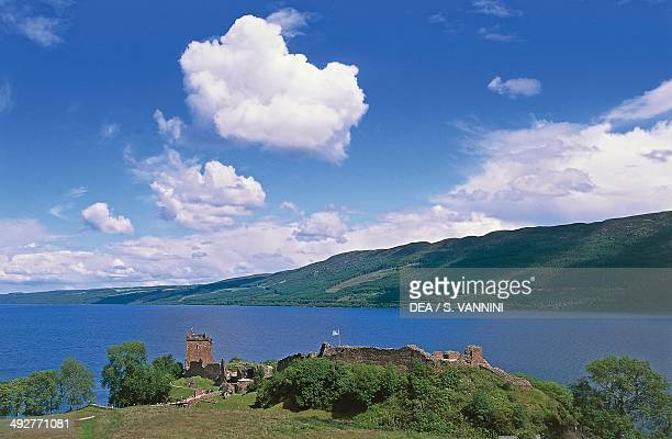 Ruins of Urquhart castle on the banks of Loch Ness Drumnadrochit Scotland United Kingdom