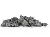 3d image of concrete rubble on white