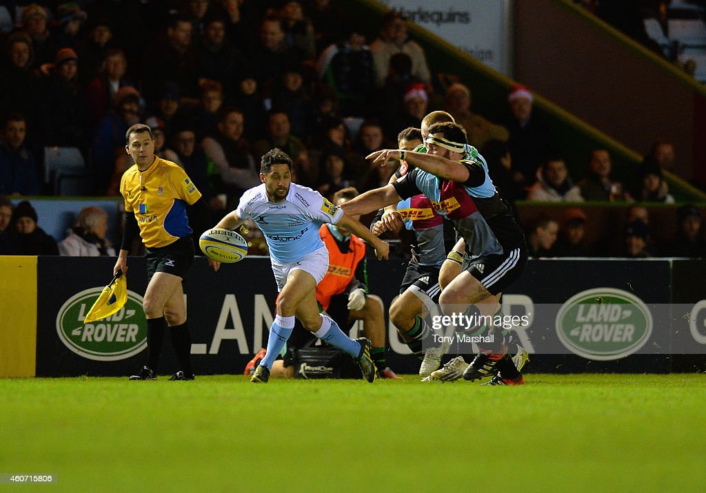 Ruki Tipuna of Newcastle Falcons holds off a challenge during the Aviva Premiership match between Harlequins and Newcastle Falcons at the Twickenham Stoop on December 20, 2014 in London, England.