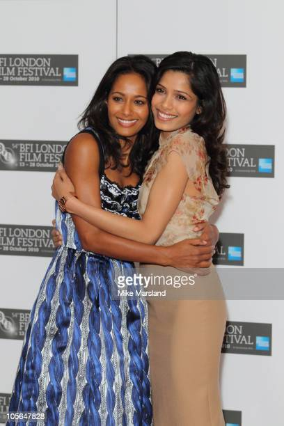 Rula Jebreal and Freida Pinto promote the film 'Miral' at the 54th BFI London Film Festival at Vue West End on October 18 2010 in London England