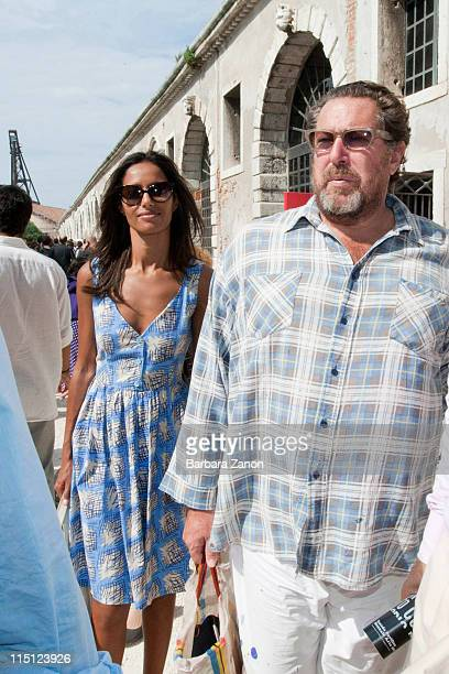 Rula Jebreal and Julian Schnabel attends the International Art Biennale on June 3 2011 in Venice Italy The Venice Art Biennale will run from june 4...
