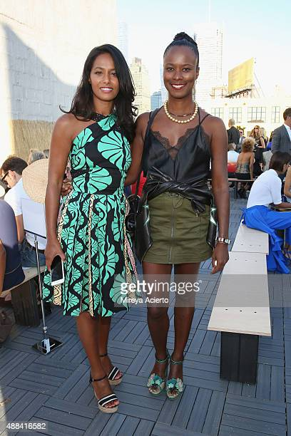 Rula Jebreal and Shala Monroque attends the Sophie Theallet fashion show during Spring 2016 MADE Fashion Week at Shop Studios on September 15 2015 in...