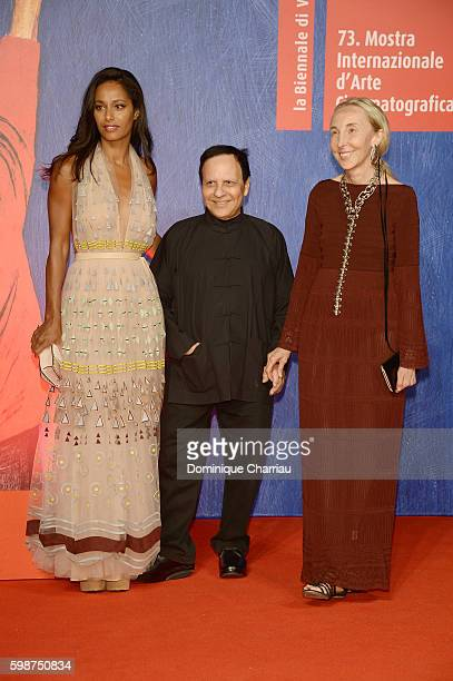 Rula Jebreal Azzedine Alaia and Carla Sozzani attend the premiere of 'Franca Chaos And Creation' during the 73rd Venice Film Festival at Sala...