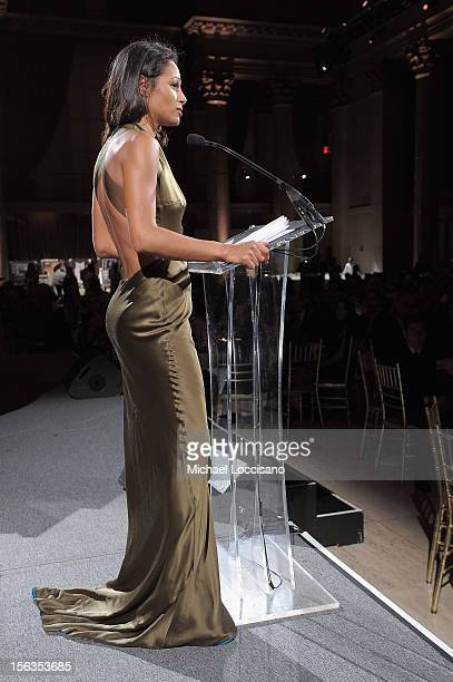 Rula Jebreal speaks onstage at the Worldwide Orphans 15th Anniversary Benefit Gala at Cipriani Wall Street on November 13 2012 in New York City