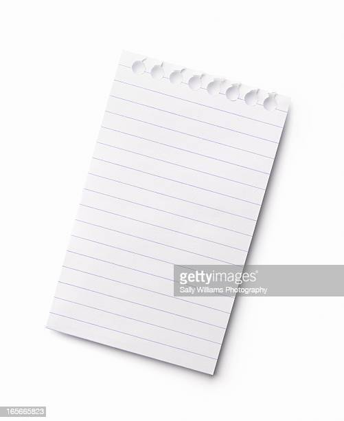 A ruled sheet of white note paper