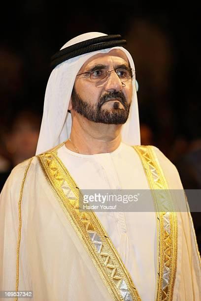 Ruler of Dubai Sheikh Mohammed bin Rashid Al Maktoum attends the American University Dubai 2013 Graduation Ceremony on May 12 2013 in Dubai United...