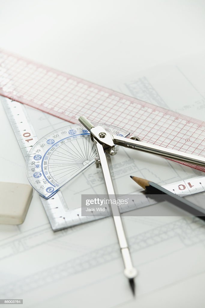 ruler, protractor, compasses, pencil and eraser