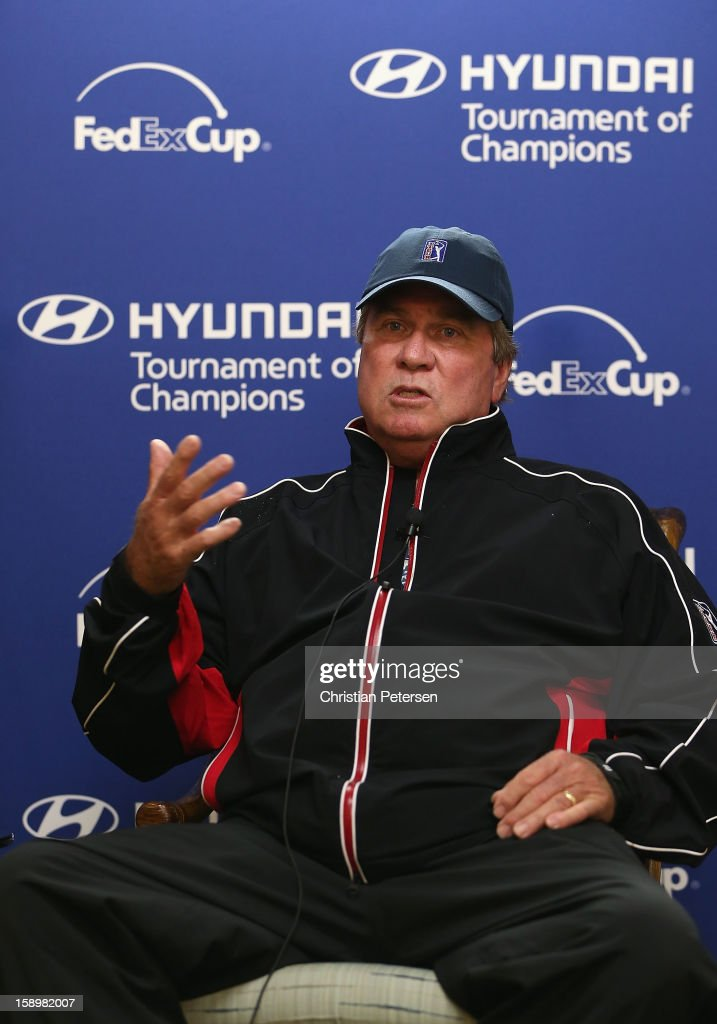 Rules Official Slugger White speaks to the media explaining that the first round was canceled by weather and will be replayed staring Saturday during the Hyundai Tournament of Champions at the Plantation Course on January 4, 2013 in Kapalua, Hawaii.