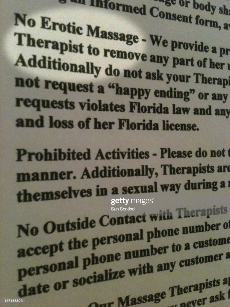 A rules sheet explains what customers can ask for, and therapists can do at a massage parlor in Plantation, Florida. The owner of this establishment is among 161 Florida-licensed massage therapists under suspension. The suspensions were part of a joint investigation into potential human trafficking in the massage industry.