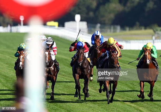 Rulesn'regulations ridden by William Buick heads towards the finish line to win The Jean Bryant Memorial Handicap Stakes at Ascot Racecourse on...