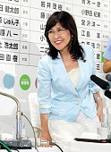 Ruling Liberal Demcratic Party Policy Council Chairwoman Tomomi Inada smiles at the LDP headqharters on July 10 2016 in Tokyo Japan Exit polls...