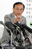 Ruling Liberal Demcratic Party Secretary General Sadakazu Tanigaki speaks during a press conference at the LDP headqharters on July 10 2016 in Tokyo...