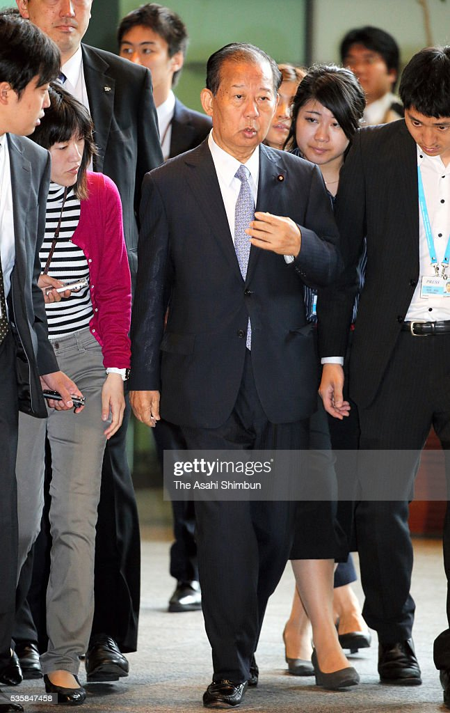 Ruling Liberal Democratic Party General Council Chairman <a gi-track='captionPersonalityLinkClicked' href=/galleries/search?phrase=Toshihiro+Nikai&family=editorial&specificpeople=569783 ng-click='$event.stopPropagation()'>Toshihiro Nikai</a> is seen on arrival for his meeting with Prime Minister Shinzo Abe at Abe's official residence on May 30, 2016 in Tokyo, Japan. Abe has decided to postpone the scheduled increase in the consumption tax rate, from 8 to 10 percent, citing sluggish global economic conditions and the powerful earthquakes that struck Kyushu. Abe will not dissolve the Lower House for a snap election for voters' opinion on his decision.