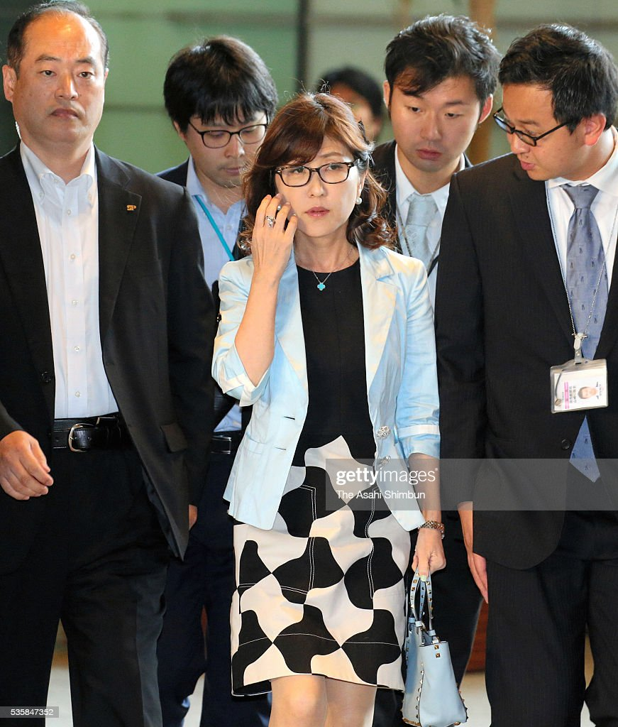 Ruling Liberal Democratic Party Policy Research Council Chairwoman <a gi-track='captionPersonalityLinkClicked' href=/galleries/search?phrase=Tomomi+Inada&family=editorial&specificpeople=8008569 ng-click='$event.stopPropagation()'>Tomomi Inada</a> is seen on arrival for her meeting with Prime Minister Shinzo Abe at Abe's official residence on May 30, 2016 in Tokyo, Japan. Abe has decided to postpone the scheduled increase in the consumption tax rate, from 8 to 10 percent, citing sluggish global economic conditions and the powerful earthquakes that struck Kyushu. Abe will not dissolve the Lower House for a snap election for voters' opinion on his decision.