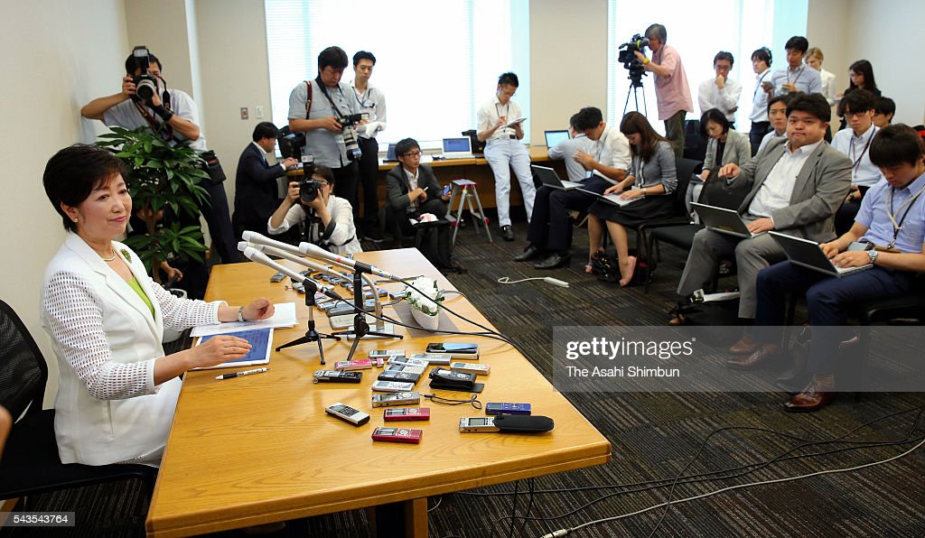 Ruling Liberal Democratic Party veteran lawmaker <a gi-track='captionPersonalityLinkClicked' href=/galleries/search?phrase=Yuriko+Koike&family=editorial&specificpeople=588171 ng-click='$event.stopPropagation()'>Yuriko Koike</a> speaks during a press conference on June 29, 2016 in Tokyo, Japan. Koike announced her run for the Tokyo Gubanatorial election, which takes place on July 31.