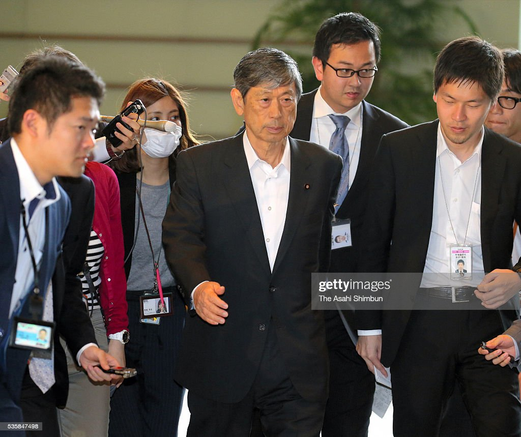 Ruling Liberal Democratic Party Vice President <a gi-track='captionPersonalityLinkClicked' href=/galleries/search?phrase=Masahiko+Komura&family=editorial&specificpeople=2591868 ng-click='$event.stopPropagation()'>Masahiko Komura</a> is seen on arrival for his meeting with Prime Minister Shinzo Abe at Abe's official residence on May 30, 2016 in Tokyo, Japan. Abe has decided to postpone the scheduled increase in the consumption tax rate, from 8 to 10 percent, citing sluggish global economic conditions and the powerful earthquakes that struck Kyushu. Abe will not dissolve the Lower House for a snap election for voters' opinion on his decision.