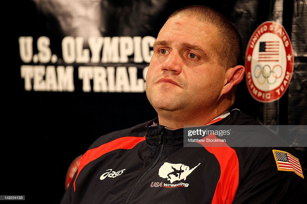 Rulon Gardner fields questions from the media after failing to make weight before the US Wrestling Olympic Trials at Carver Hawkeye Arena on April 21...
