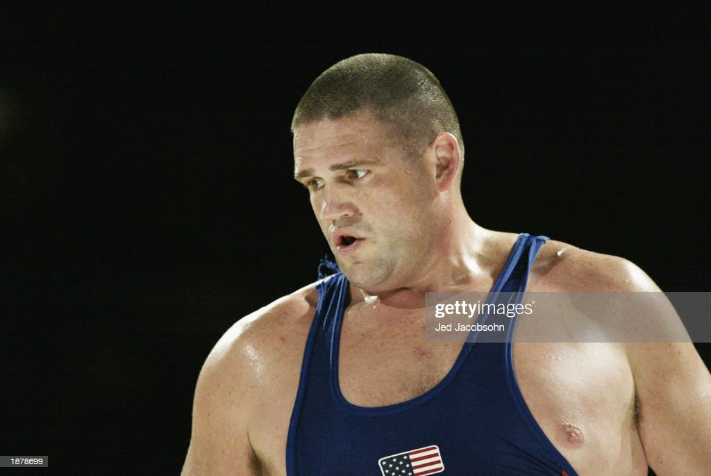Rulon Gardner of the USA during his match against Georgiy Tsurtsumia of Kazakhstan in the wrestling portion of the Titan Games at the Events Center...