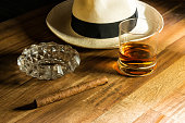 Rum, hat and cigar in cuban style