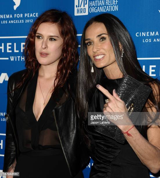Rumer Willis and Demi Moore attend the Cinema for Peace fundraiser for Haiti at Montage Beverly Hills on January 14 2012 in Beverly Hills California