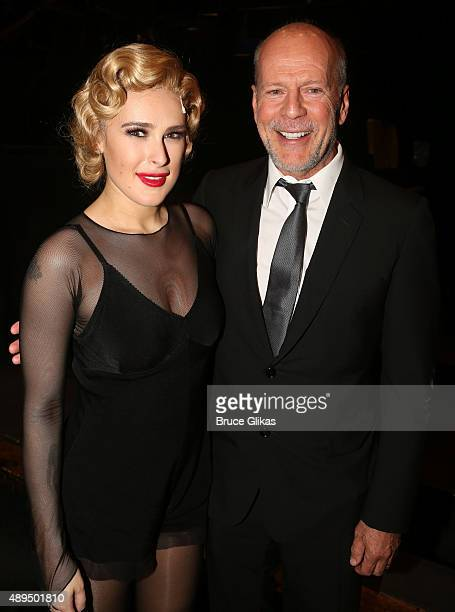 Rumer Willis and father Bruce Willis pose backstage as Rumer makes her broadway debut as 'Roxie Hart' in Broadway's 'Chicago' on Broadway at The...
