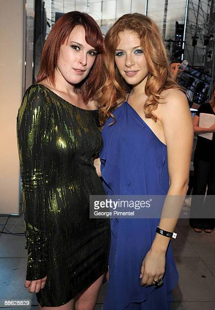 Rumer Willis and Rachelle Lefevre pose backstage at the 20th Annual MuchMusic Video Awards at the MuchMusic HQ on June 21 2009 in Toronto Canada