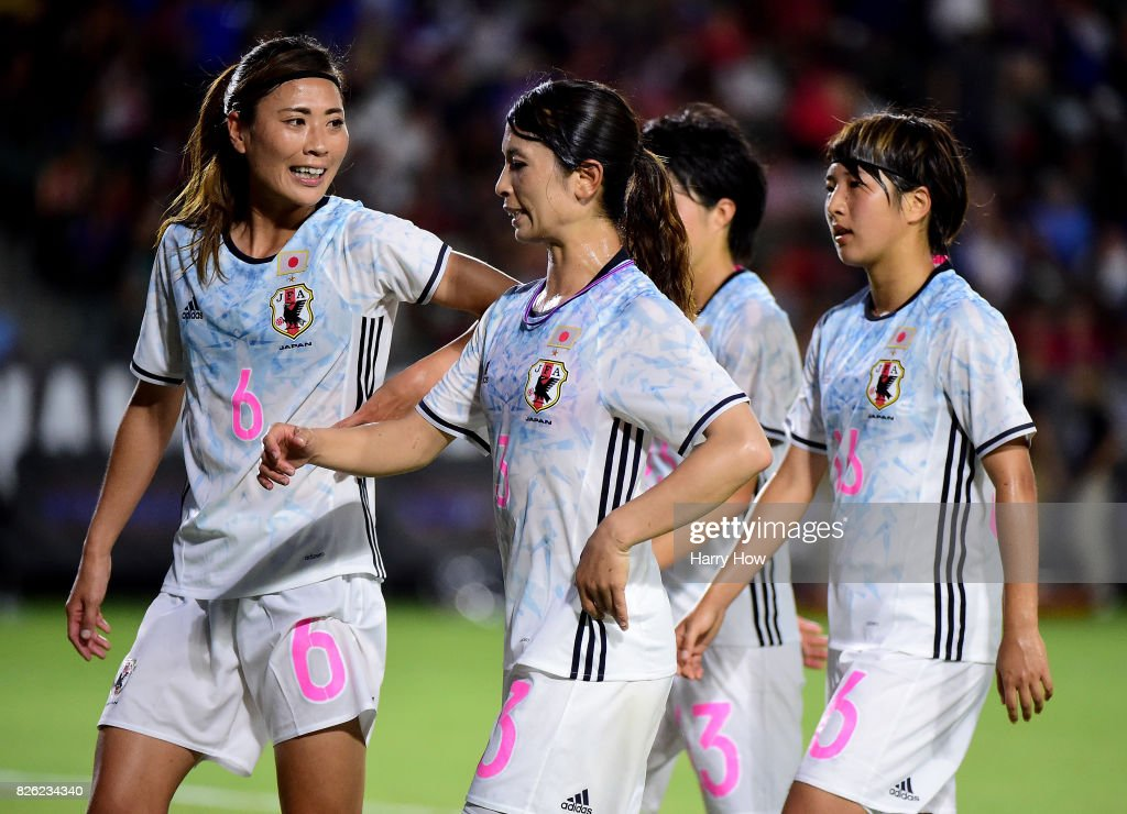 Rumi Utsugi #6, Aya Sameshima #3, Yuika Sugasawa #13 and Rin Sumida #16 of Japan walk off the field at half trailing the United States 1-0, eventually losing 3-0, during the 2017 Tournament Of Nations at StubHub Center on August 3, 2017 in Carson, California.