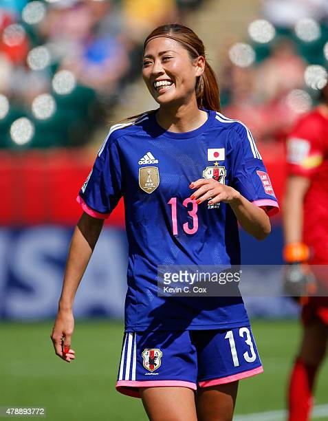 Rumi Utsugi of Japan against Australia during the FIFA Women's World Cup Canada 2015 Quarter Final match between Australia and Japan at Commonwealth...