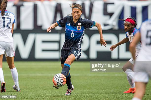 Rumi Utsugi of Japan controls the ball during the second half of a friendly match against the US Women's National Team on June 5 2016 at FirstEnergy...