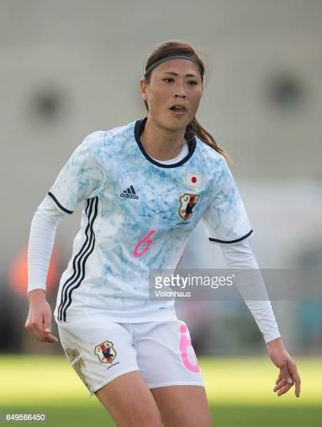Rumi Utsugi of Japan during the Group B 2017 Algarve Cup match between Norway and Japan at the Estadio Algarve on March 06 2017 in Faro Portugal