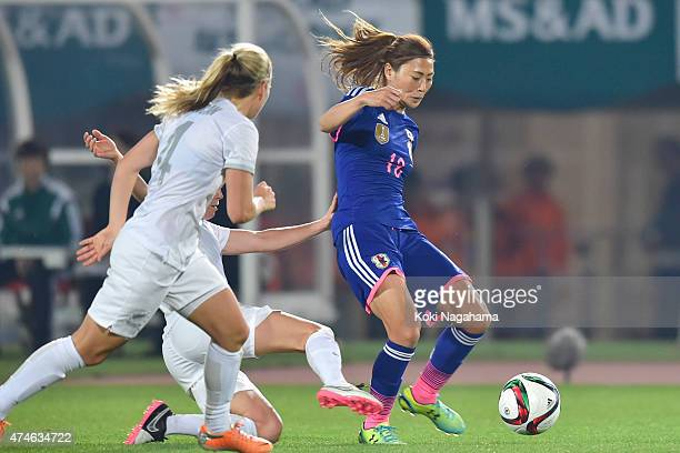 Rumi Utsugi of Japan in action during the MSAD Nadeshiko Cup 2015 women's soccer international friendly match between Japan and New Zealand at Kagawa...