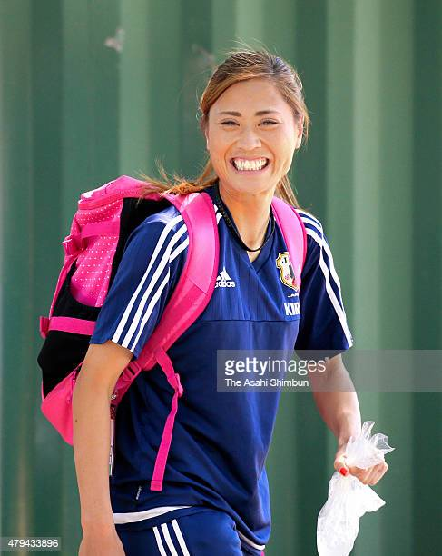 Rumi Utsugi of Japan leaves after a Japan training session on July 3 2015 in Vancouver Canada