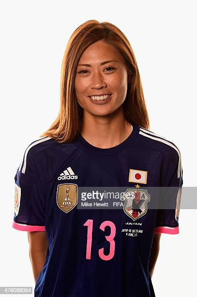 Rumi Utsugi of Japan poses for a portrait during the official Japan portrait session ahead of the FIFA Women's World Cup 2015 at the Sheraton Wall...