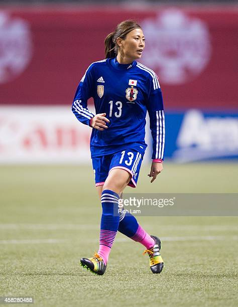 Rumi Utsugi of Japan runs during Women's International Soccer Friendly Series action against Canada on October 28 2014 at BC Place Stadium in...