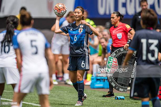 Rumi Utsugi of Japan throws in during the second half of a friendly match against the US Women's National Team on June 5 2016 at FirstEnergy Stadium...