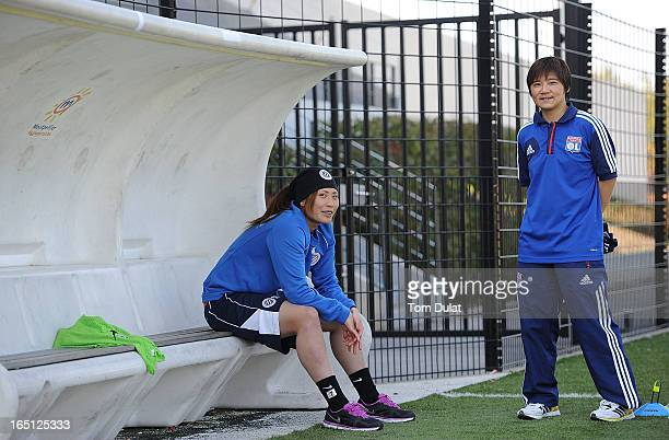 Rumi Utsugi of Montpellier HSC and Shinobu Ohno of Olympic Lyonnais during the Championnat de France D1 Feminine match between Montpellier HSC and...