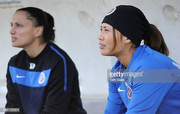 Rumi Utsugi of Montpellier HSC looks on during the Championnat de France D1 Feminine match between Montpellier HSC and Olympic Lyonnais at Stade de...