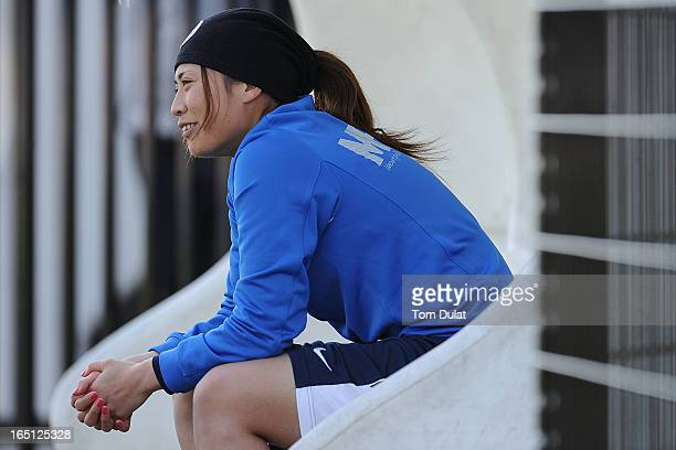 Rumi Utsugi of Montpellier HSC smiles during the Championnat de France D1 Feminine match between Montpellier HSC and Olympic Lyonnais at Stade de la...