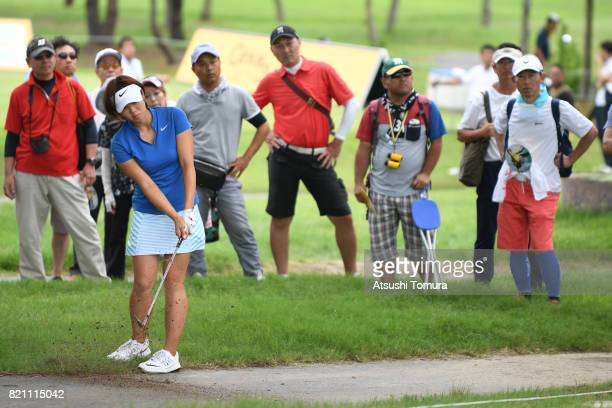 Rumi Yoshiba of Japan chips onto the 14th green during the final round of the Century 21 Ladies Golf Tournament 2017 at the Seta Golf Course on July...