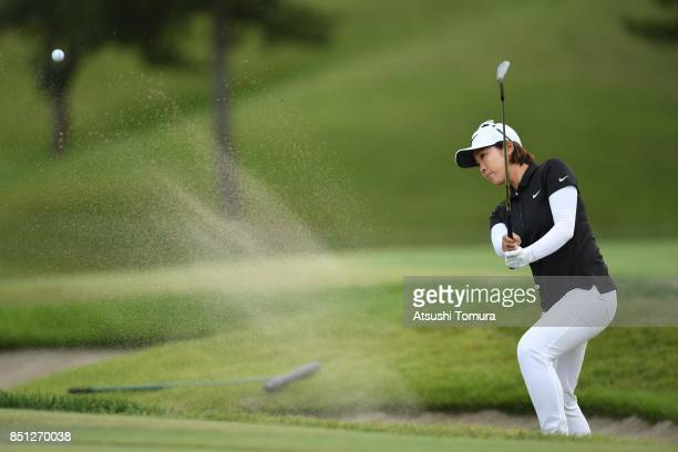 Rumi Yoshiba of Japan hits from a bunker on the 18th hole during the first round of the Miyagi TV Cup Dunlop Ladies Open 2017 at the Rifu Golf Club...